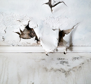 Ceiling and wall with rain damage