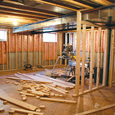 a basement that is being converted midway through the project