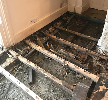floor replacement due to wet rot problems